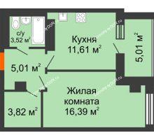 1 комнатная квартира 45,36 м², ЖК Площадь Ленина - планировка