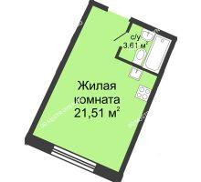 Студия 24,63 м² в ЖК Ватсон, дом № 4 - планировка