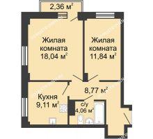 2 комнатная квартира 52,52 м² - ЖК Каскад на Волжской