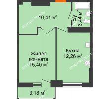 1 комнатная квартира 43,1 м², ЖК Орбита - планировка