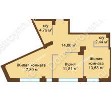 2 комнатная квартира 65,14 м², ЖК Либерти - планировка
