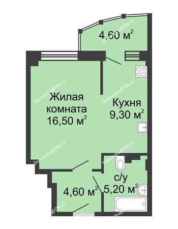 1 комнатная квартира 40,2 м² в ЖК Мега, дом № 2