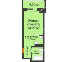 Студия 31,1 м² в ЖК Звездный-2, дом № 3 - планировка