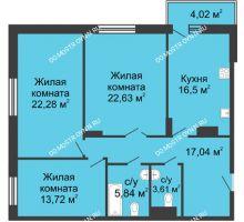 3 комнатная квартира 101,62 м² в ЖК Высоково, дом № 3 - планировка