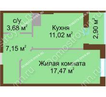 1 комнатная квартира 42,22 м² в ЖК Красная поляна, дом № 8