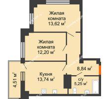 2 комнатная квартира 55 м² в ЖК Аврора, дом № 2 - планировка