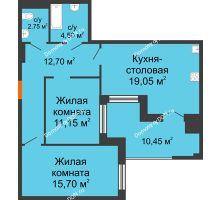 3 комнатная квартира 76,3 м² в ЖК Симфония, дом 3 этап - планировка