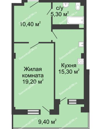 1 комнатная квартира 54,9 м² - ЖК Дом на Береговой