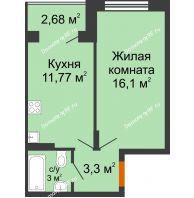 1 комнатная квартира 35,57 м² в ЖК Мандарин, дом 2 позиция 5-8 секция - планировка