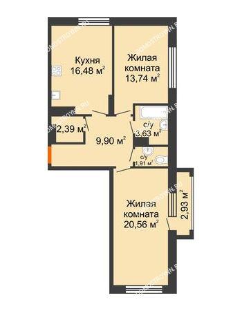 2 комнатная квартира 69,49 м² в ЖК Маленькая страна, дом № 4