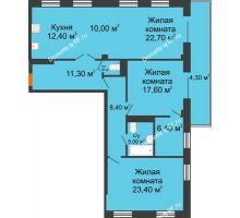 3 комнатная квартира 123 м², ЖК Art House - планировка