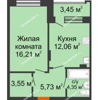 1 комнатная квартира 43,48 м² в ЖК Суворов-Сити, дом 2 очередь секция 1-5 - планировка