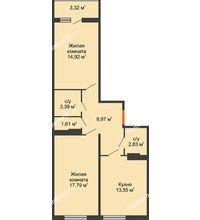 2 комнатная квартира 59,3 м² в ЖК Семейный парк, дом Литер 2 - планировка