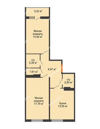 2 комнатная квартира 59,3 м² в ЖК Семейный парк, дом Литер 2