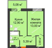Студия 43,92 м² в ЖК Гвардейский 3.0, дом Секция 3 - планировка