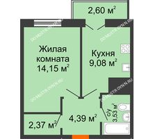 1 комнатная квартира 36,12 м² - ЖК Комарово