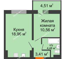 1 комнатная квартира 39,67 м², ЖК Инстеп.Победа - планировка