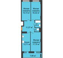 3 комнатная квартира 83,79 м² в ЖК Встреча, дом № 1 - планировка