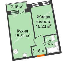 1 комнатная квартира 33,15 м² в ЖК Ватсон, дом № 3А - планировка