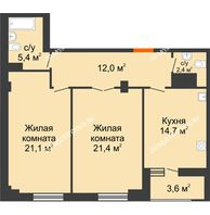 2 комнатная квартира 78,8 м² в ЖК Квартет, дом № 3 - планировка
