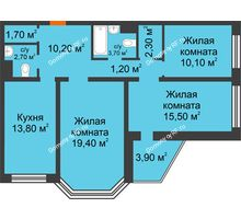 3 комнатная квартира 82,6 м², ЖК Приоритет - планировка