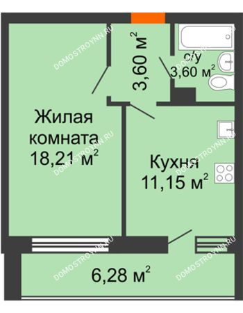1 комнатная квартира 42,84 м² в ЖК Добрый, дом № 1