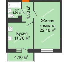 1 комнатная квартира 43,4 м² в ЖК Я, дом  Литер 2 - планировка