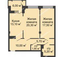 2 комнатная квартира 76,7 м², ЖК Династия на Соборном - планировка