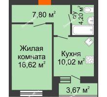 1 комнатная квартира 40,66 м² в ЖК БелПарк, дом 2 очередь - планировка