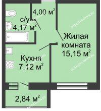 1 комнатная квартира 31,86 м², ЖК Волжский-Берег - планировка