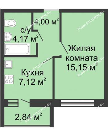 1 комнатная квартира 31,86 м² - ЖК Волжский-Берег