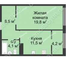 1 комнатная квартира 48,1 м² в ЖК Славянский квартал, дом № 5а, 7 - планировка