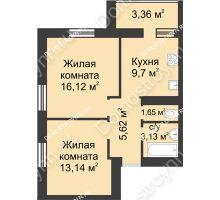2 комнатная квартира 52,72 м² - ЖК Буревестник