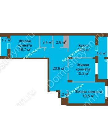 3 комнатная квартира 100 м² в ЖК Монолит, дом № 89, корп. 1, 2