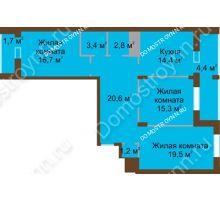 3 комнатная квартира 100 м² в ЖК Монолит, дом № 89, корп. 1, 2 - планировка