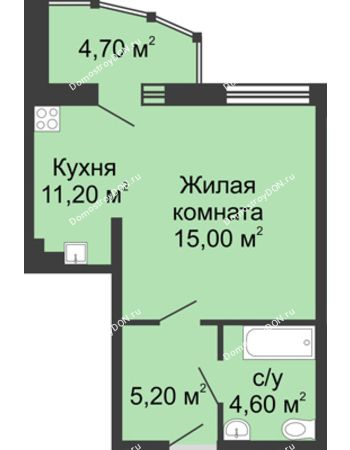 1 комнатная квартира 40,7 м² в ЖК Мега, дом № 2