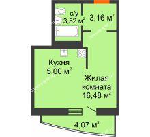 Студия 32,23 м² в ЖК Нива, дом №37 - планировка
