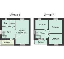 3 комнатная квартира 112 м² в КП Красный сад, дом Тип 3, 112 м² - планировка