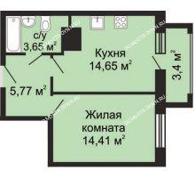 1 комнатная квартира 41,18 м² - ЖК Гелиос