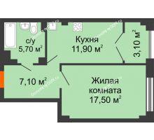 1 комнатная квартира 44,8 м², ЖК Гагарин - планировка