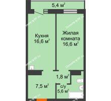 1 комнатная квартира 50,8 м² в ЖК Курчатова, дом № 10.1 - планировка