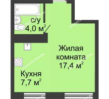 Студия 29,1 м² в ЖК Цветы, дом № 11 - планировка
