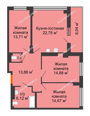 4 комнатная квартира 91,28 м² в ЖК Аврора, дом № 3