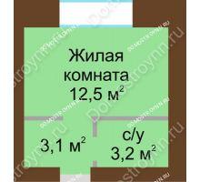 Студия 18,8 м² в ЖК Рубин, дом № 67 - планировка
