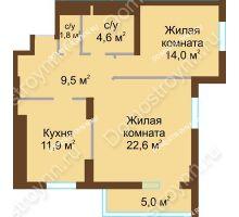 2 комнатная квартира 69,4 м² - ЖК Подкова Сормовская