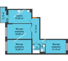 3 комнатная квартира 84,6 м² в ЖК Династия, дом Литер 2 - планировка
