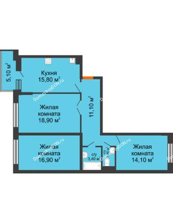 3 комнатная квартира 84,6 м² в ЖК Династия, дом Литер 2