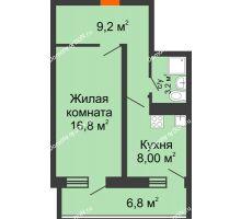 1 комнатная квартира 41,2 м² в ЖК Звезда Столицы, дом Литер 9 - планировка