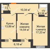 2 комнатная квартира 61 м² в Макрорайон Амград, дом № 1 - планировка