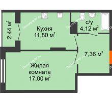 1 комнатная квартира 42,72 м² в ЖК Рассвет, дом № 10 - планировка
